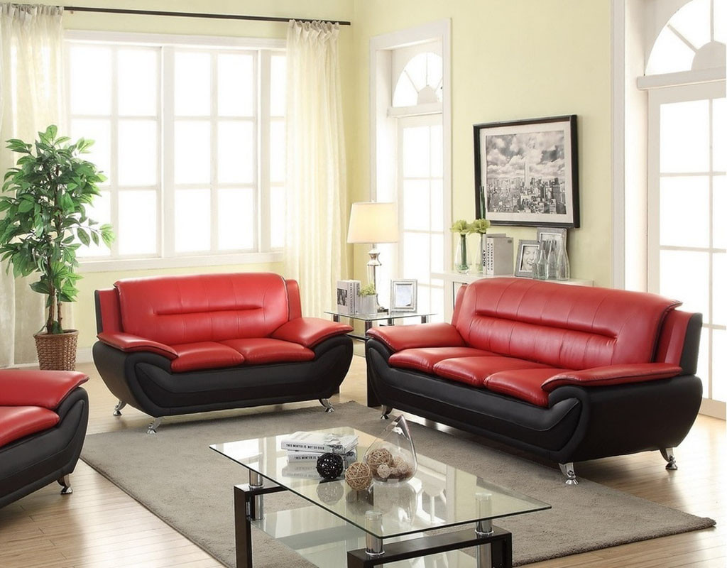 2PC PATRICK CONTEMPORARY SOFA AND LOVESEAT IN RED   Kassa Mall Home  Furniture