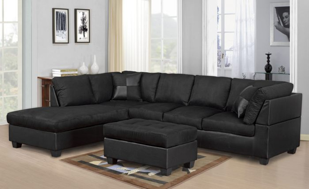 MODERN 2PC BLACK SECTIONAL SOFA AND CHAISE