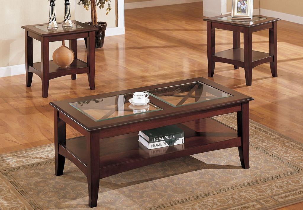 3-PCS COFFEE TABLE-DARK CHERRY-F3075