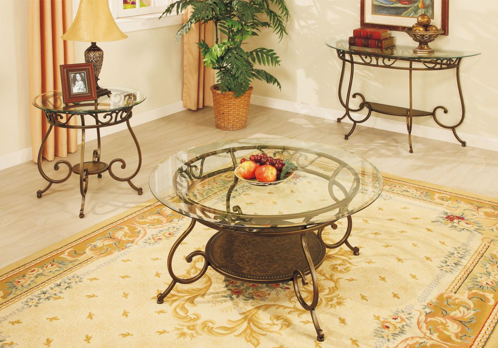 BEVELED GLASS TOP COFFEE TABLE-F6021