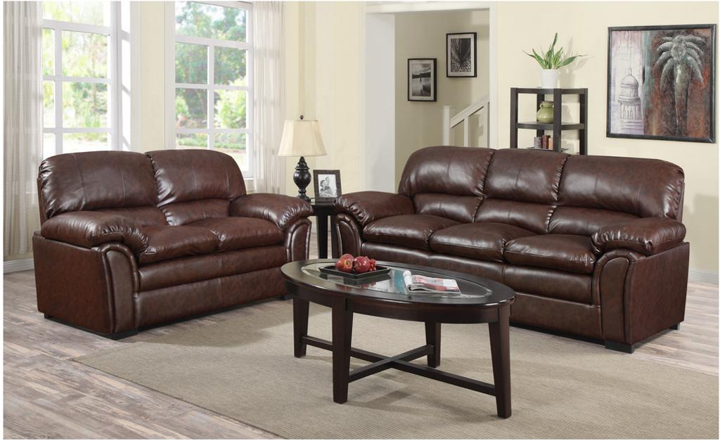 Washington's Chocolate Bonded Leather Sofa and LoveSeat
