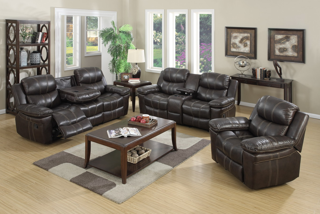 3PC MALLORCA COLLECTION RECLINER SET IN BROWN