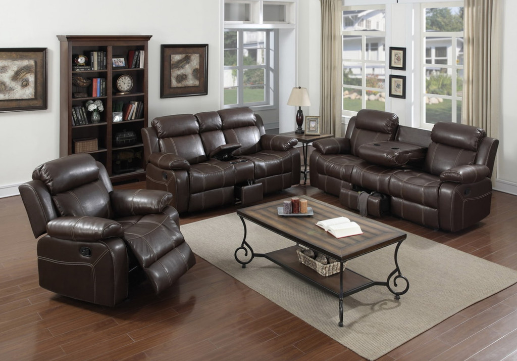 3 PCS BROWN LEATHER RECLINER SET WITH STORAGE