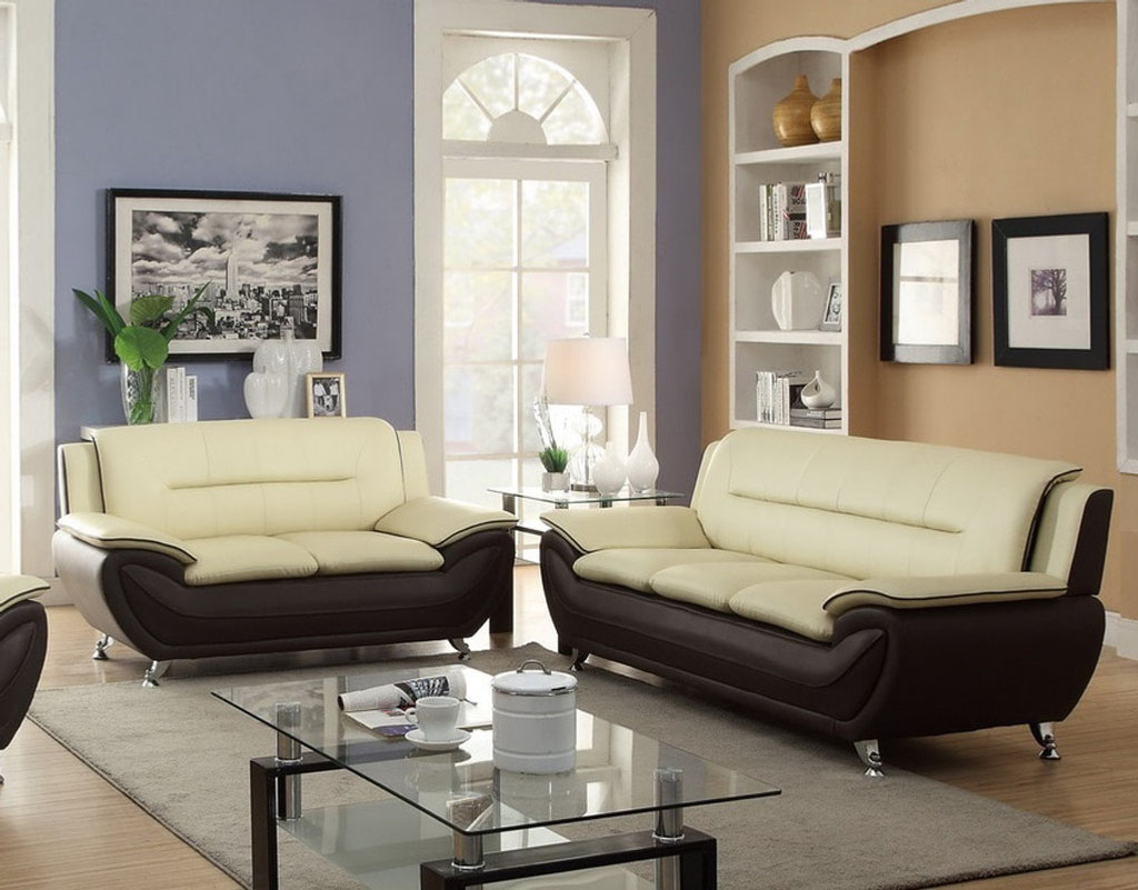 2PC PATRICK CONTEMPORARY SOFA AND LOVESEAT IN CREAM/ BURGUNDY