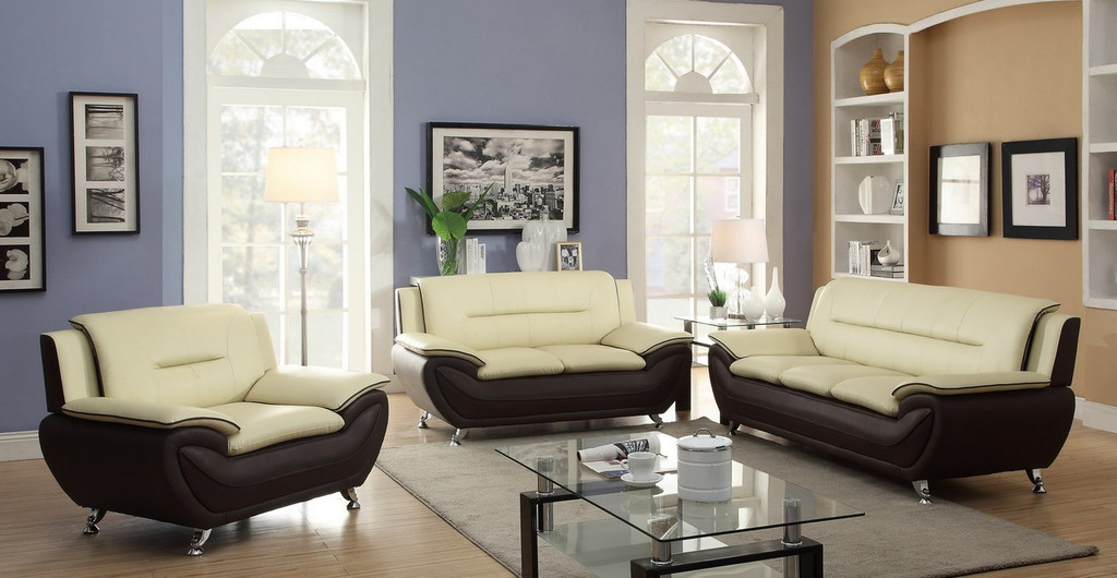2PC PATRICK CONTEMPORARY SOFA AND LOVESEAT IN CREAM/ BURGUNDY-858