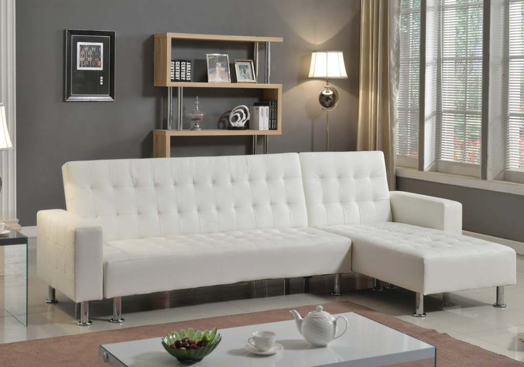 AIDEN MODERN ADJUSTABLE SOFA BED IN WHITE-1316