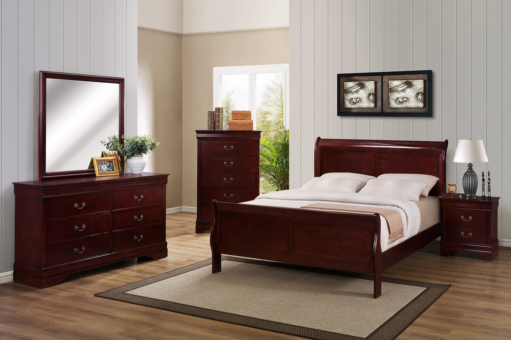 7PCS LOUIS PHILLIP BEDROOM SET IN CHERRY