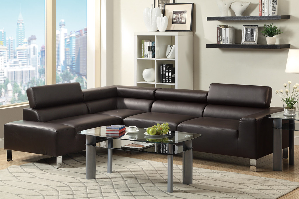 2PC STELLA SECTIONAL SET IN ESPRESSO