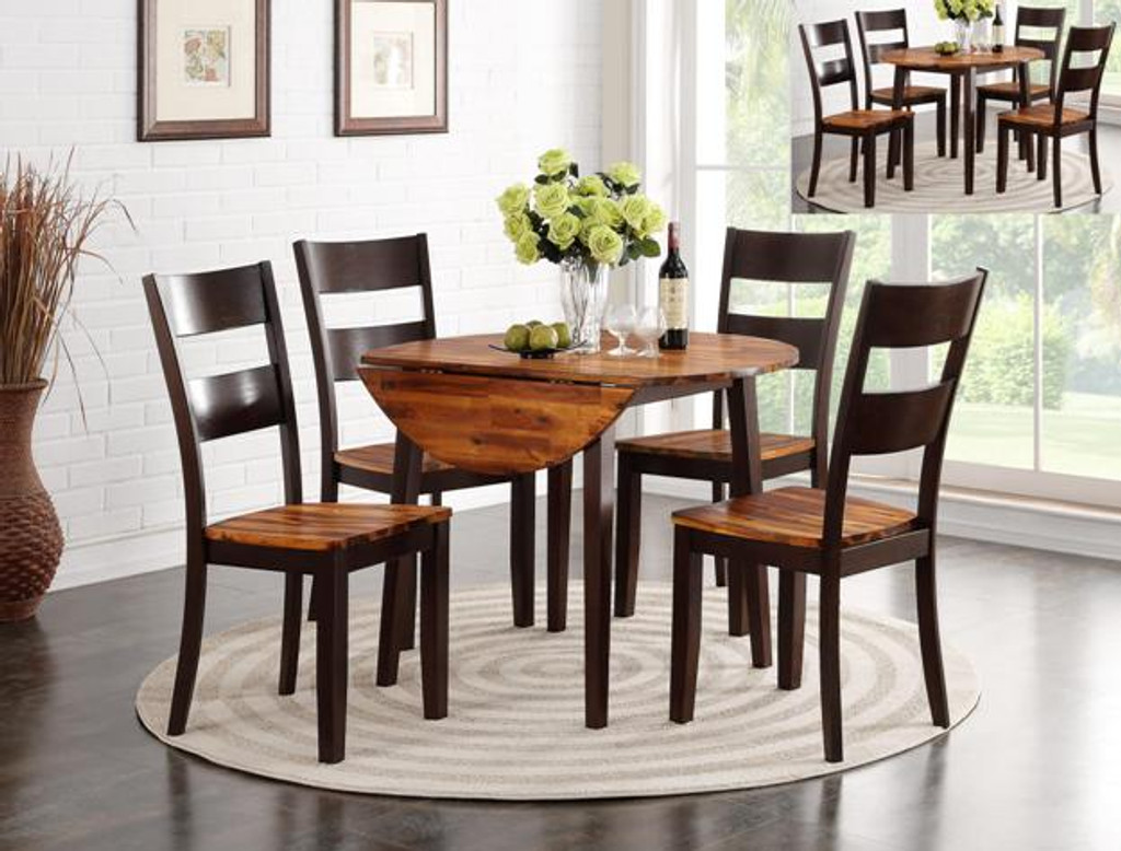 Jacey Round Drop Leaf Table 2 Tone 5pc Dining Set Kassa Mall Home