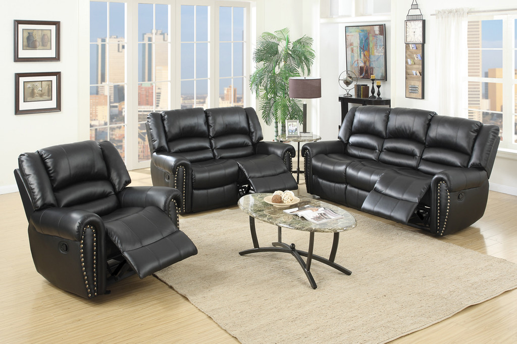 3PC GLIDER RECLINER CHAIR IN BLACK COLOR