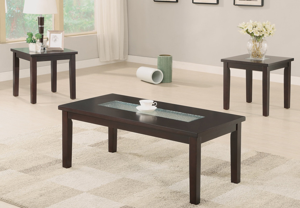 3-PCS 5MM WATERMARK TEMPERED GLASS TOP INLAY COFFEE TABLE SET-F3101
