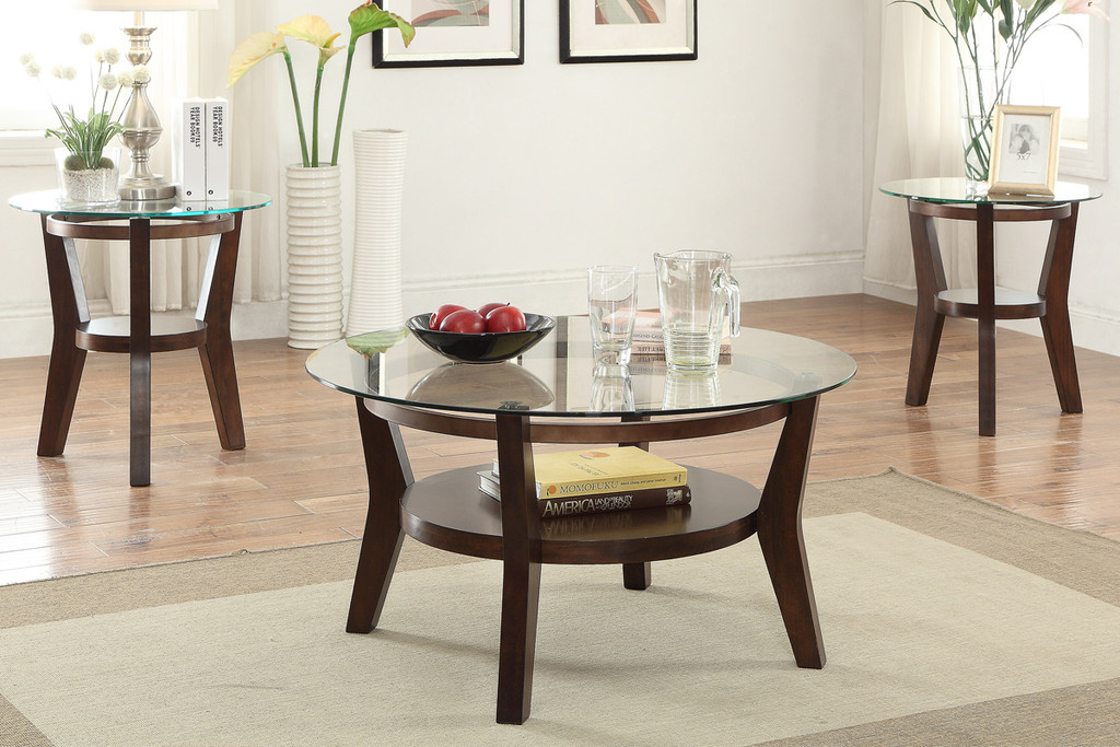 3PC 8MM BEVELED GLASS TOP COFFEE TABLE SET
