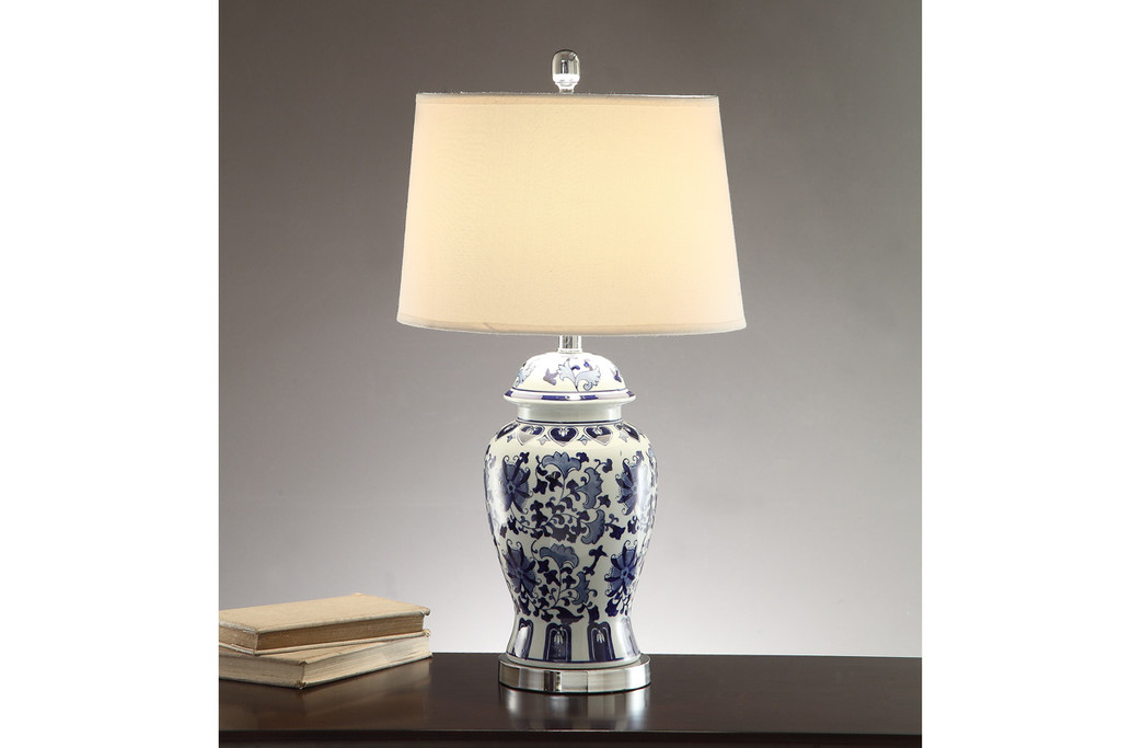 """FLORAL PATTERNS WITH SILVER ACCENTS BASE LAMP 28"""" H (2 LAMPS)"""