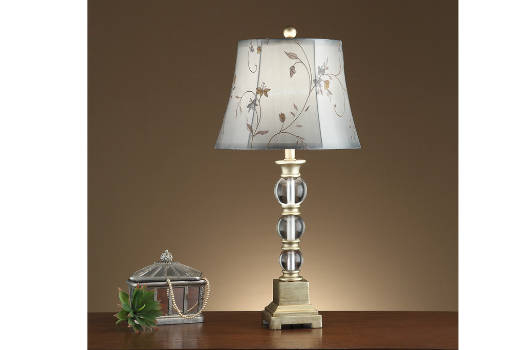 """GLASS BULB SHAPED BASE AND FLORAL ADORNED SHADE TABLE LAMP 29""""H (2 LAMPS)"""