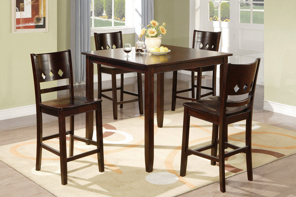 5PCS BROWN PUB STYLE DIAMOND CUTOUTS ACCENTS COUNTER HEIGHT SET