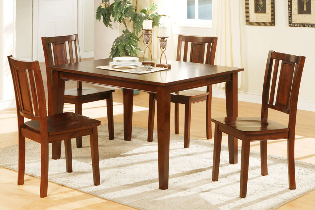 5-PCS RECTANGULAR DARK CHERRY FINISH DINING ROOM SET