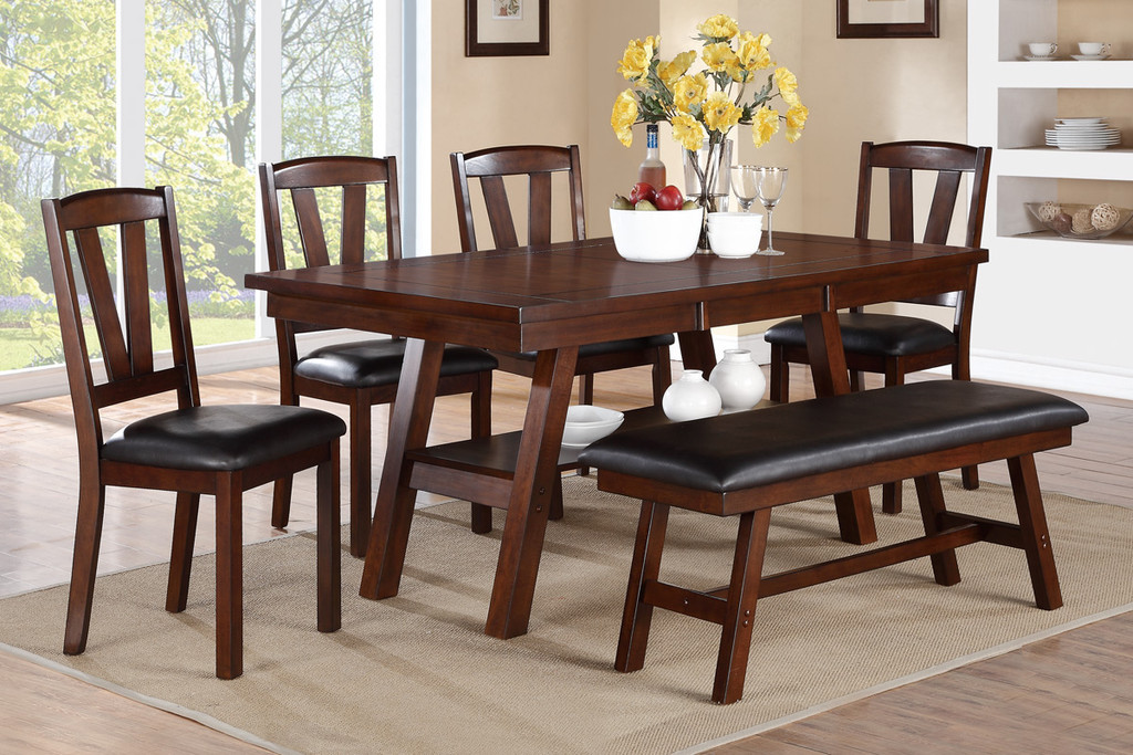 6-PCS V DESIGN DARK WALNUT FINISH DINING ROOM SET