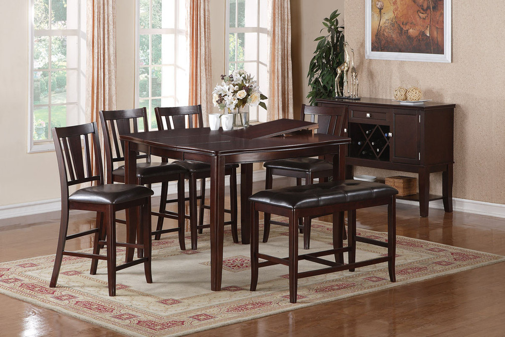 CONTEMPORARY DARK BROWN FAUX LEATHER BOLD DESIGNS 6-PIECES COUNTER HEIGHT SET