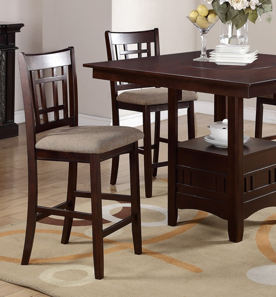 DARK ROSY BROWN FINISH BUILT IN LAZY SUSAN 5 PIECES COUNTER HEIGHT SET