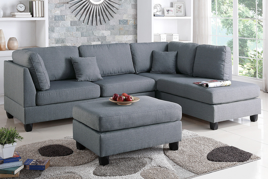 3PC LANA SECTIONAL WITH OTTOMAN IN GRAY