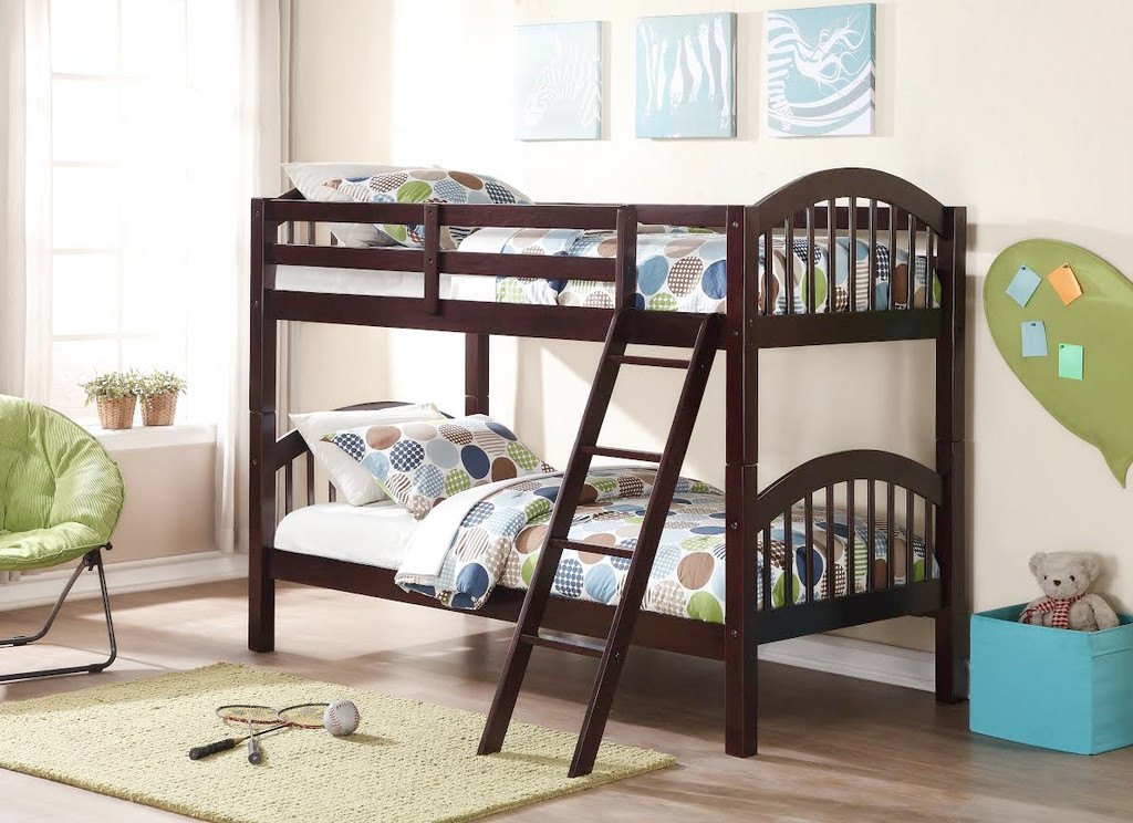 ESPRESSO TWIN OVER TWIN BUNK BED AND 2 MATTRESSES COMBO