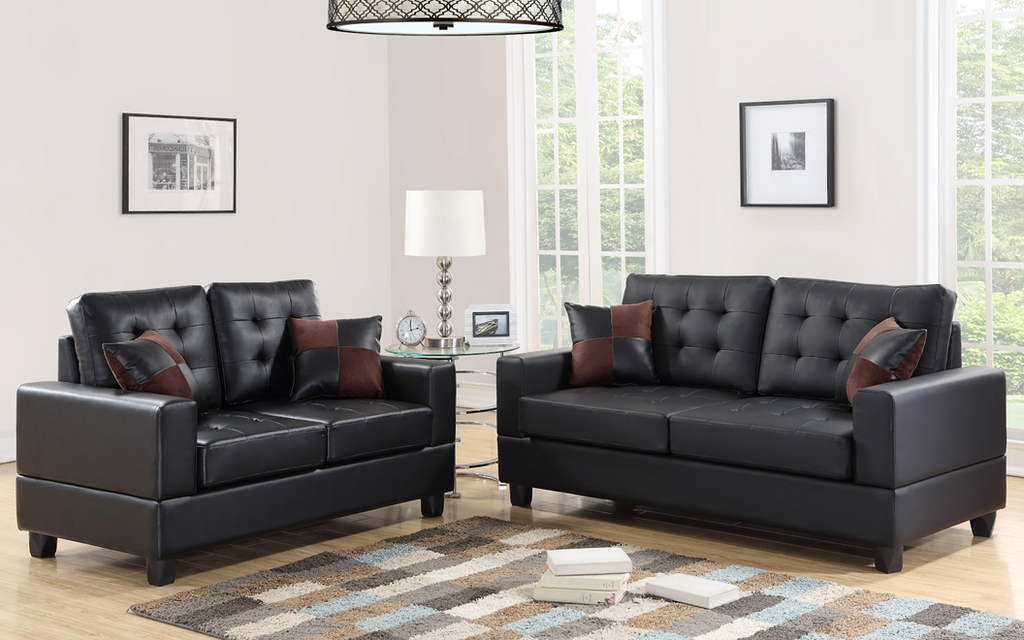 Picture of: 2 Pcs Sofa Set In Black Color With Accent Pillows Km Home Furniture
