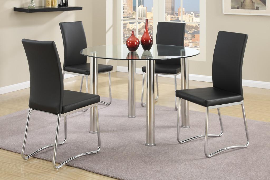 5 PCs Modern Round Dining Table Set in Black