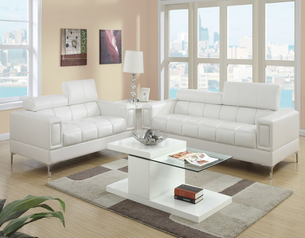 2PC MARC SOFA AND LOVESEAT WITH ADJUSTABLE HEADREST IN CREAM-F7240