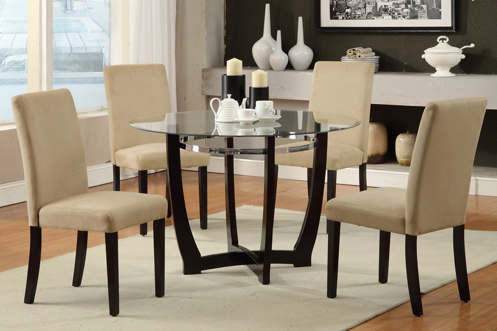 5PC ESPRESSO WOODEN BASE AND GLASS  WITH HAZELNUT CHAIRS