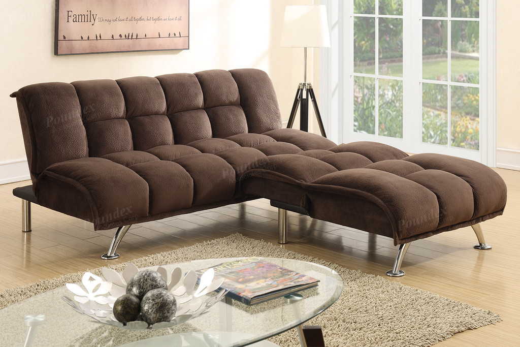 ADJUSTABLE SOFA CHOCOLATE PADDED SUEDE