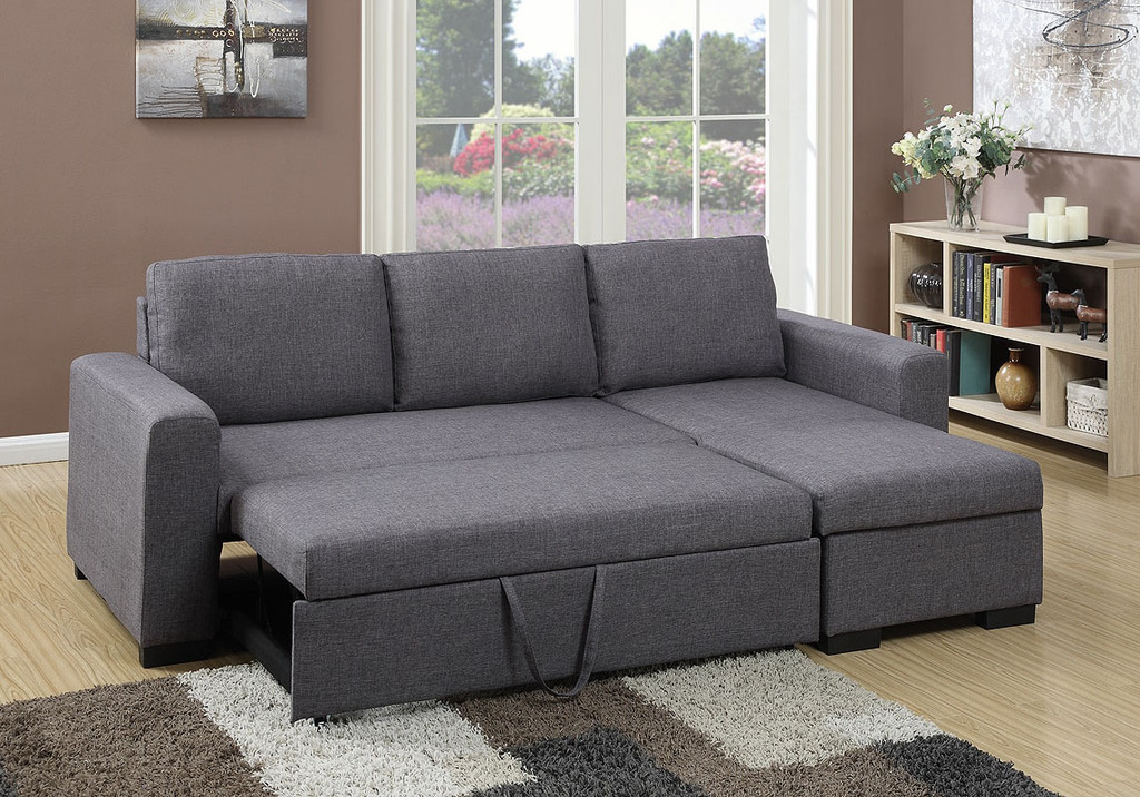 2PC CONVERTIBLE SECTIONAL w/PULL-OUT BED IN BLUE GREY LINEN-F6931
