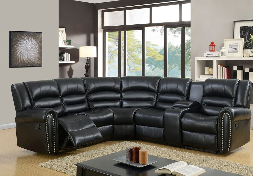 5PC RECLINING LIVING ROOM OR HOME THEATER SECTIONAL SET IN BLACK COLOR -6229