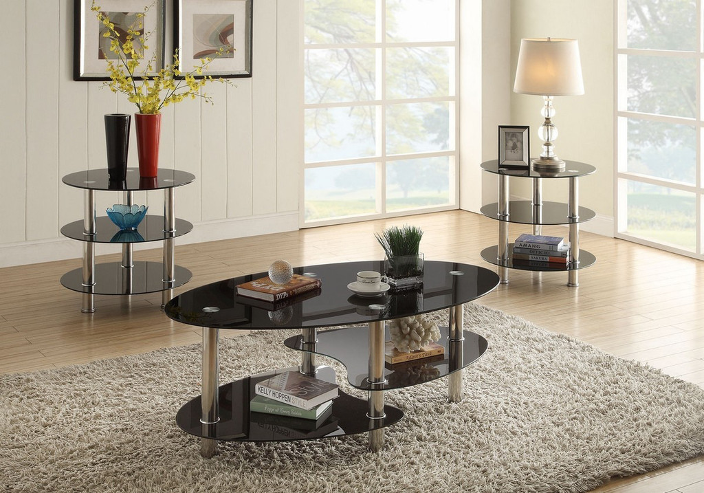 3PC Tempered Glass Top Coffee Table & End Table Set-F3054