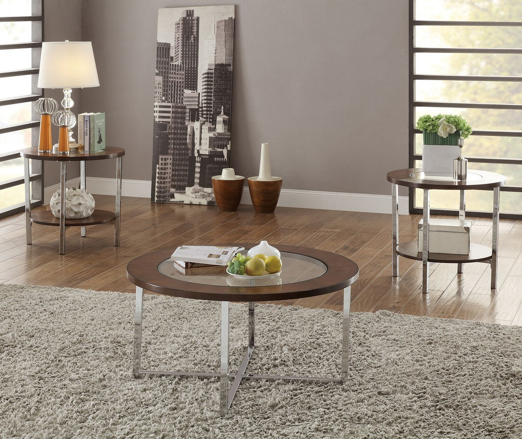 3PC Circular Tempered  Glass Top Coffee Table & End Table Set
