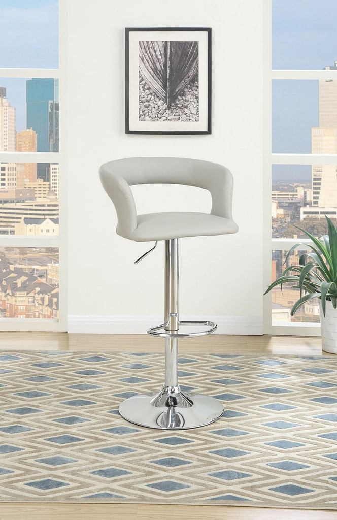 GREY LEATHER 2 PIECES ADJUSTABLE BAR STOOL