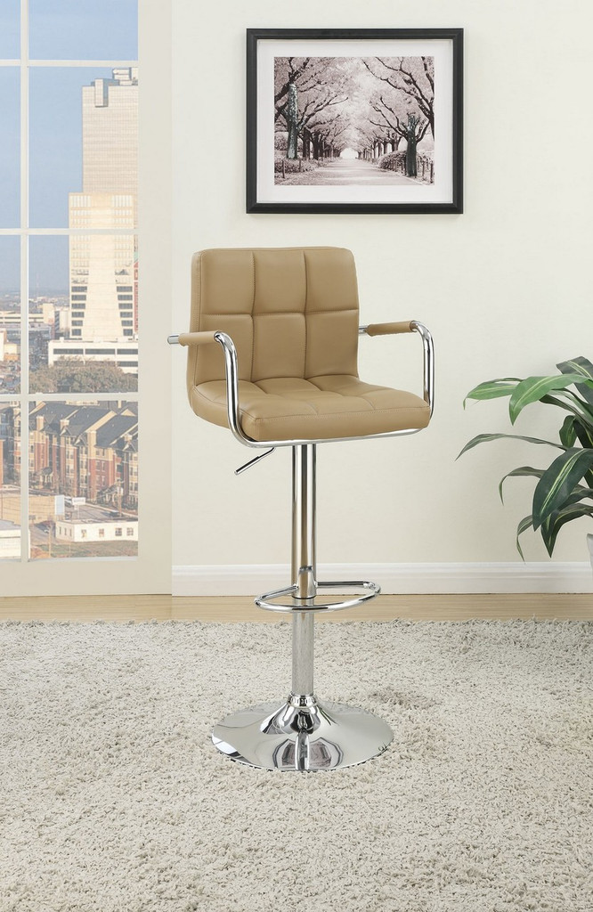ADJUSTABLE BROWN FAUX LEATHER 2 PIECES BAR STOOL
