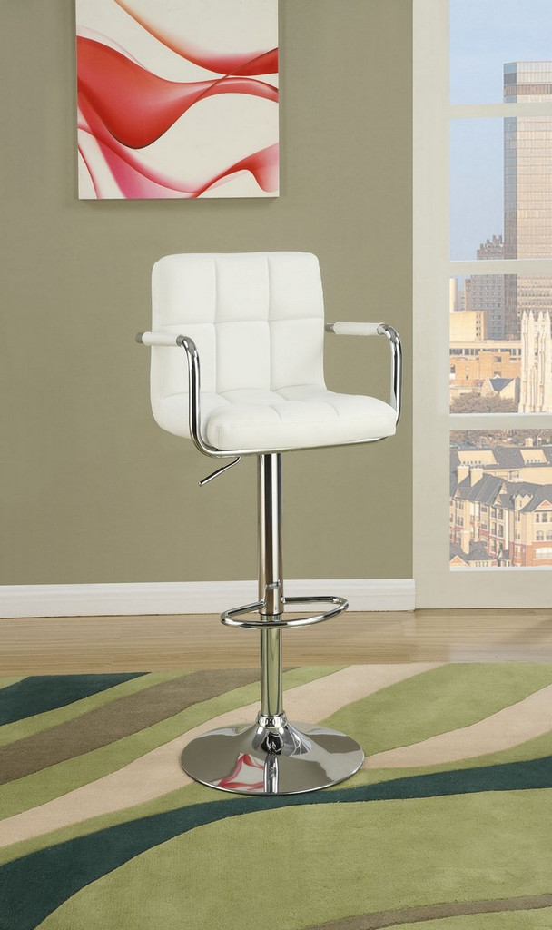 ADJUSTABLE WHITE FAUX LEATHER 2 PIECES BAR STOOL