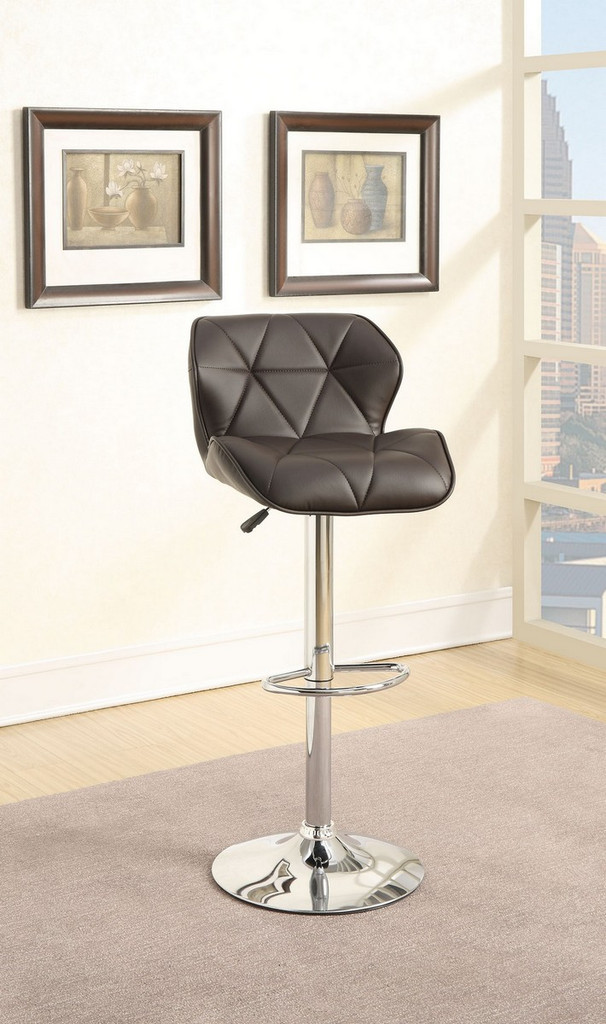ADJUSTABLE 2 PIECES BAR STOOL WITH DIAMOND ACCENT STITCHING UPLHOLSTERED IN DARK BROWN FAUX LEATHER