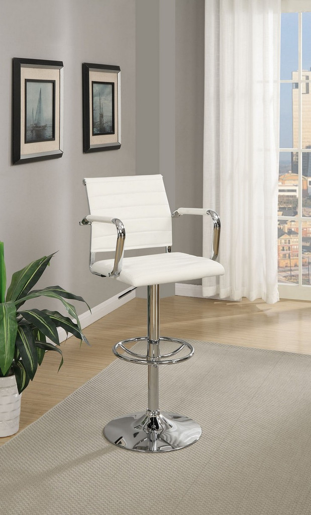 ADJUSTABLE 2 PIECES BAR STOOL WITH HORIZONTAL ACCENT STITCHING UPLHOLSTERED IN WHITE FAUX LEATHER