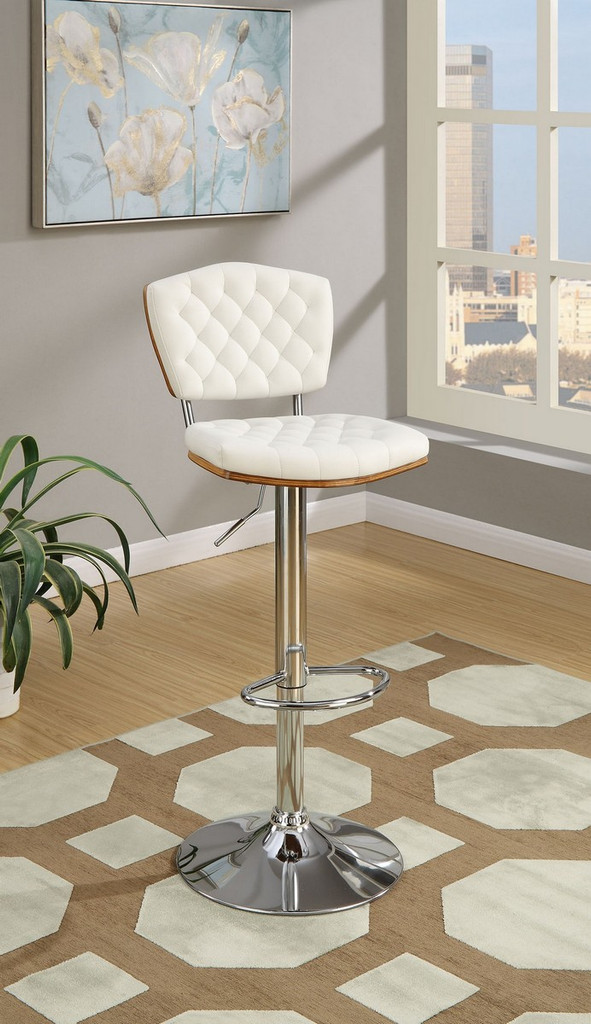 ADJUSTABLE PEDESTAL 2 PIECES BAR STOOL WITH HORIZONTAL ACCENT STITCHING UPLHOLSTERED IN WHITE FAUX LEATHER