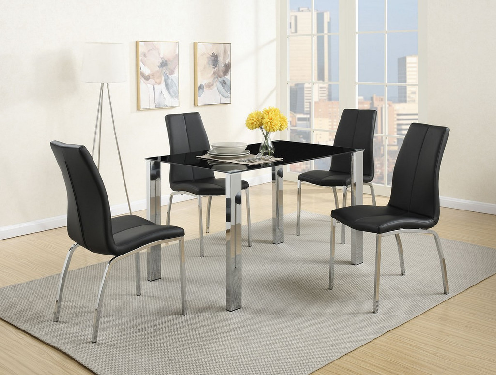 5-PCS BLACK MODERN DINING ROOM SET WITH 8MM TEMPERED GLASS TOP