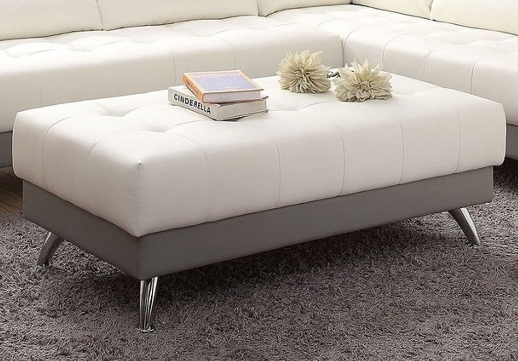 WHITE AND GREY COCKTAIL OTTOMAN WITH CHROME LEGS-F6983