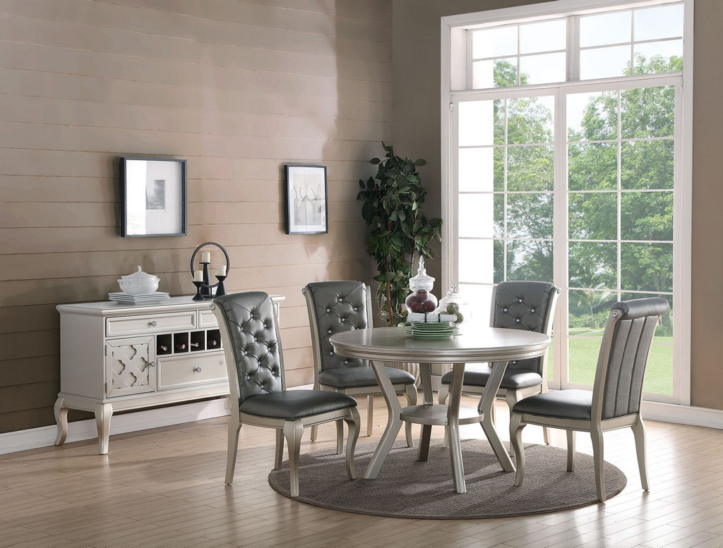 5 PIECE FORMAL ROUND DINING TABLE SET IN ANTIQUE SILVER FINISH