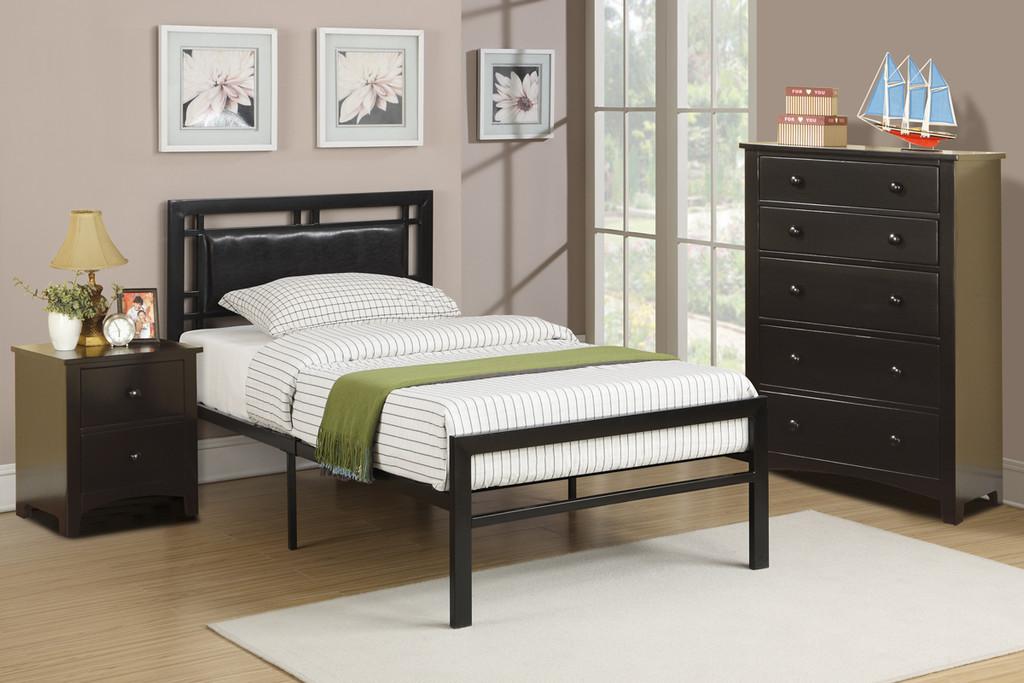BLACK BEDROOM METAL PLATFORM WITH SLATS TWIN/FULL BED