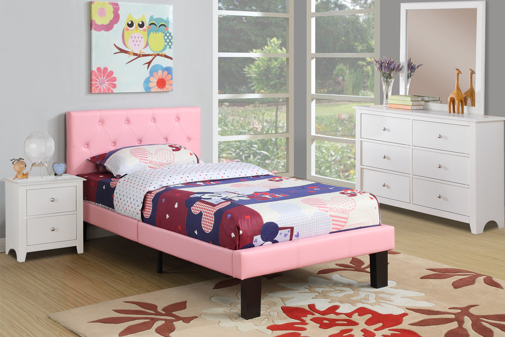 BEDROOM PLATFORM TWIN/FULL BED UPHOLSTERED IN PINK LEATHER