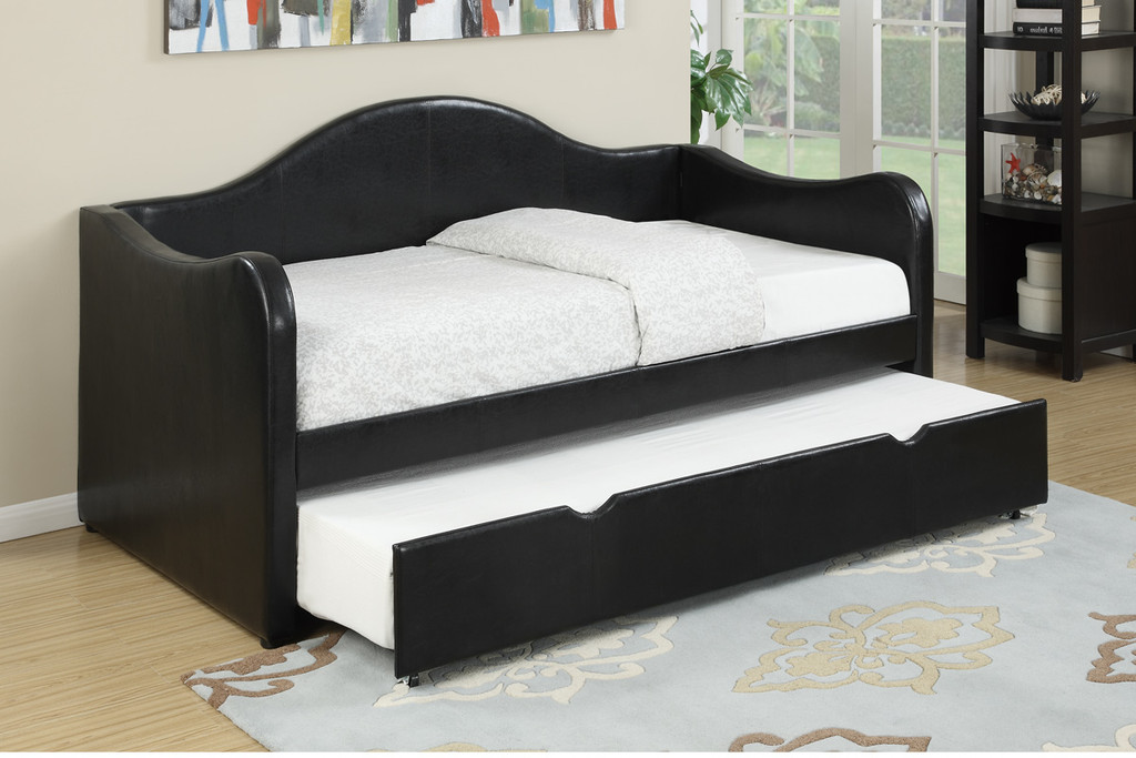 TWIN BED DAYBED w/TRUNDLE UPHOLSTERED IN BLACK LEATHER