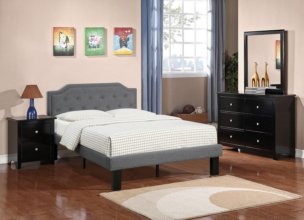MODERN TWIN/FULL SIZE BED UPHOLSETERED IN BLUE GREY POLYFIBER LINEN