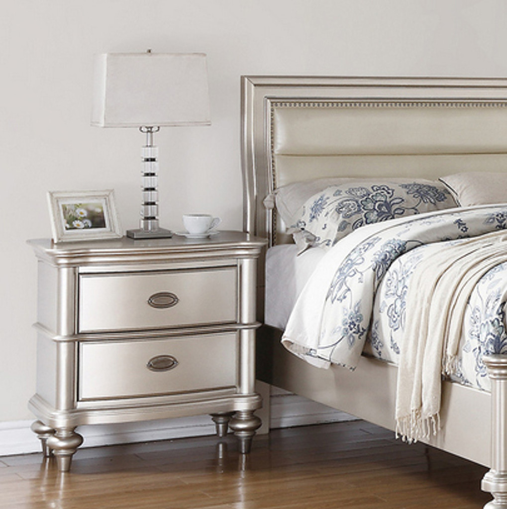 SILVER GLAM NIGHT STAND-F4390NS