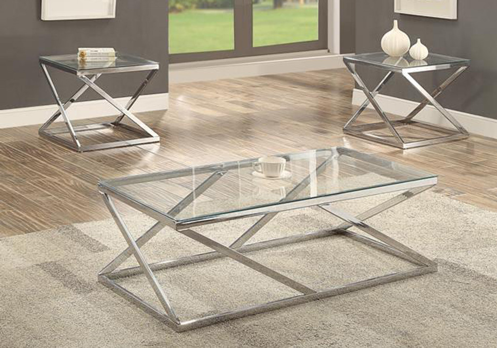 3PC CHASE TEMPERED GLASS COFFEE TABLE SET IN SILVER CHROME FINISH-3272SET /F3114SET