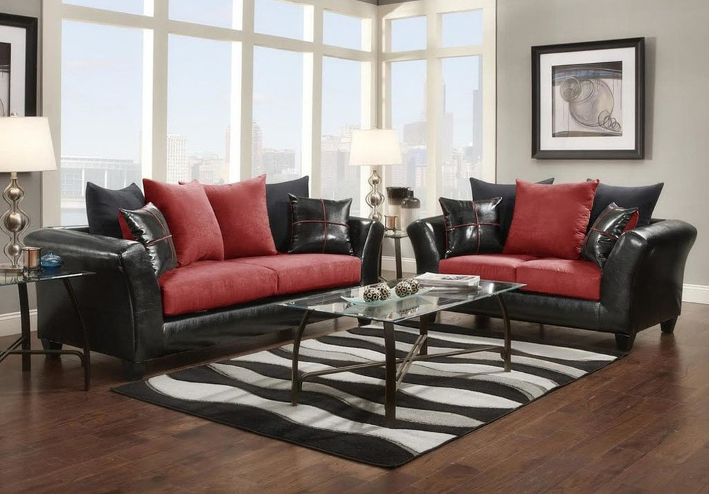 2PC VICTORY LANE SOFA AND LOVESEAT IN RED-9000-RD